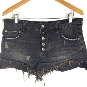 Free People Denim Shorts Black Sz 27 Frayed